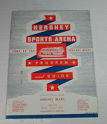 1948-1949 Hershey Bears VS. Providence Reds AHL Hockey Program