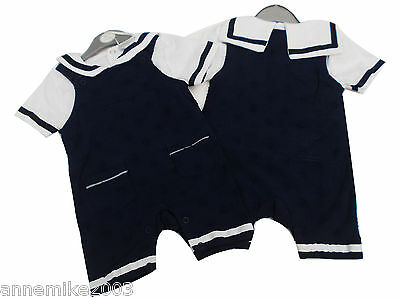 BNWT  baby boys navy and white summer sailor suit  dungaree & top 0-3m 3-6m 6-9m