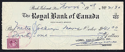 The Royal Bank of Canada 1948 Cheque Rock Island w/ George VI 3 Cents Stamp