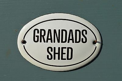 Small Oval Enamel Metal Grandads Shed Wall Door Sign Plaque Door Sign Grandpa