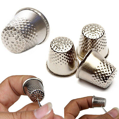 8X Finger Thimbles Sewing Grip  Metal Shield Protector for Pins Needles Large
