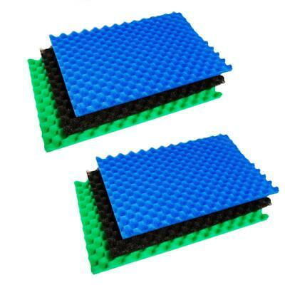 "TWIN PACK 11"" x 17"" REPLACEMENT POND FILTER FOAM SETS 3 COARSE MEDIUM FINE MEDIA"