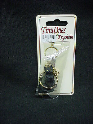 Pretty BLACK KITTY CAT KEYCHAIN Figurine statue Ornament kitten Key Chain Ring