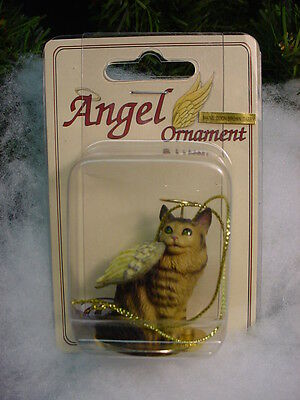 MAINE COON Brown Tiger Stripe CAT ANGEL ORNAMENT Statue kitty kitten Christmas