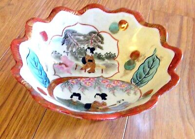 1905 Era Japanese Scolloped Edge Bowl With Branch Feet & Geisha's Decor As Is
