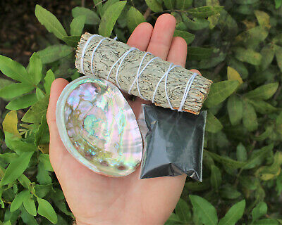 Smudge Kit: Small Abalone Shell White Sage Smudge Stick & Black Salt (Cleansing)