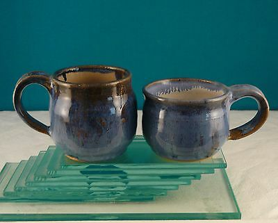 PAIR SMALL HANDTHROWN POTTERY MUGS by H.S.1988  Spatter & Drip Inside Glaze