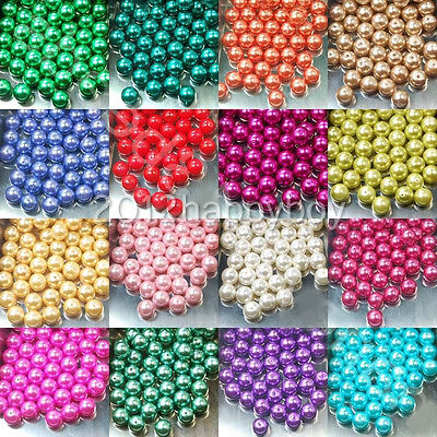 Wholesale 100pcs Charms Czech Glass Pearl Round Beads Loose Beads 4/6/8/10/12mm