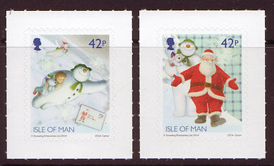 Isle Of Man 2014 Christmas Snowman And The Snowdog Self Adhesive