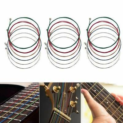6pcs set Steel Rainbow Colorful Color Strings for Acoustic Guitar High Quality