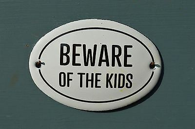 Small Oval Enamel Metal Beware Of The Kids Door Sign Plaque