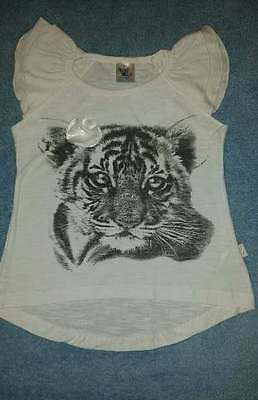 NWT Pulla Bulla Girls Tiger Love Ruffle Sleeve Graphic Tee/Shirt, Size 2-4 Years