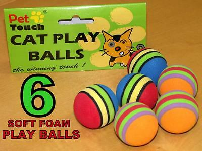 6 Small Coloured Activity Set Cat Kitten Pet Mice Toy Mouse Balls Play Foam Soft