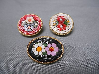 """Micro Mosaic Scatter Pins Brooches Set of 3 Red, White and Black 1"""""""