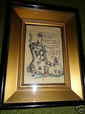 ANTIQUE VICTORIAN SHADOW BOX PLAQUE FRAME w/ NURSERY RHYME WATERCOLOR PAINTING
