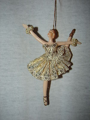 Ballerina Doll Christmas Ornament - Gold Trimmed Dress