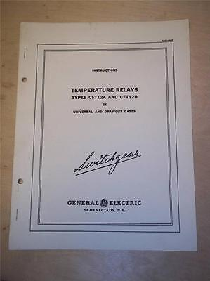 Vtg GE General Electric Manual~Temperature Relays CFT12 A B~Switchgear 1949