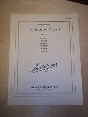Vtg GE General Electric Manual~D-C Auxiliary Relays HGA17 A B C D E F~Switchgear