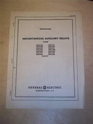Vtg GE General Electric Manual~Instantaneous Auxiliary Relays HGA15A ~Switchgear
