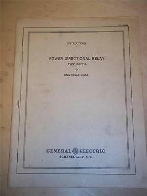 Vtg GE General Electric Manual GGP11A Power Directional Relay~Instructions~1942