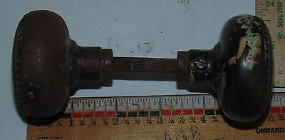 Vintage Old Matching Set of RUSTY Steel Door Knobs with Shaft