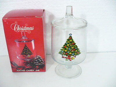Carlton Christmas tree crystal covered candy dish new in box U.S.A.