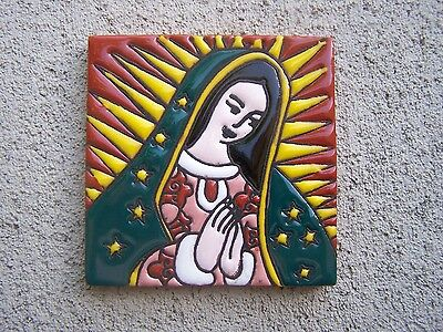 Embossed Virgin of Guadalupe Handpainted Tile #2, Mexico