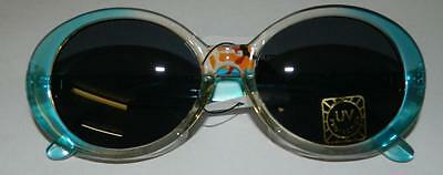Deadstock New Vintage Blue Jackie O Style Oval Sunglasses Eighties 80S 90S