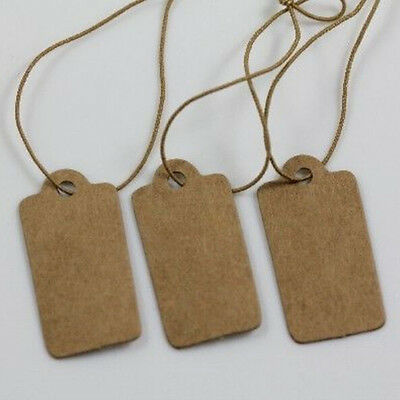 100Pcs Tags Blank Kraft Paper With Elastic String Jewelry Price Label 30x15mm