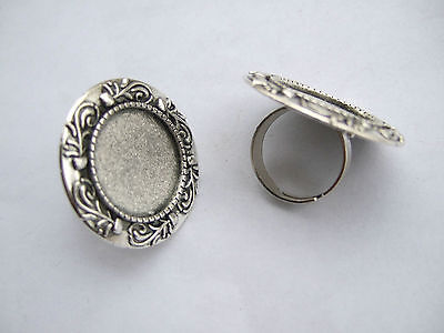 Lot of 2-20pcs Antique Silver Metal Blank Ring Base Settings for 20mm Cabochon