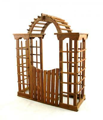 Melody Jane Dolls House Miniature Wood Garden Furniture Arbour Arch with Gates