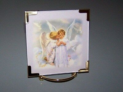 Beautiful Picture of Boy Angel Kissing Girl Angel with Easel  - NEW