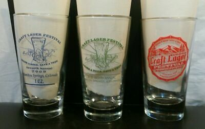 Lot of 3 Craft Lager Festival Manitou Springs Glasses 2009-2011 Collectible