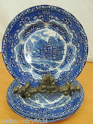 Grindley English Country Inns Staffordshire England Blue & White 3 Salad Plates