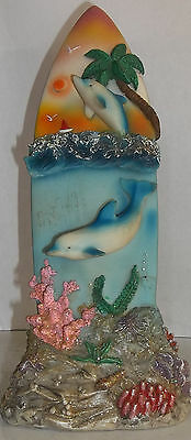 Beautiful Blue Two Dolphins Swimming Surfboard Collectible Sculpture Figurine
