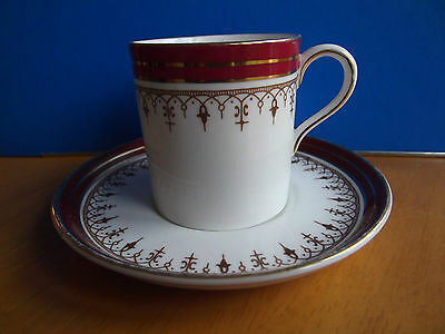 AYNSLEY * COFFEE CAN & SAUCER* DURHAM * RED 1646 *STRAIGHT EDGE *SHORT SIZE (3)