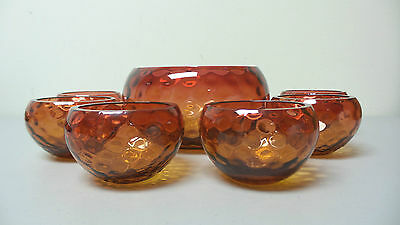 "Nice Antique Amberina Art Glass 7-Piece Berry / Fruit Set ""Coin Spot"" Pattern"