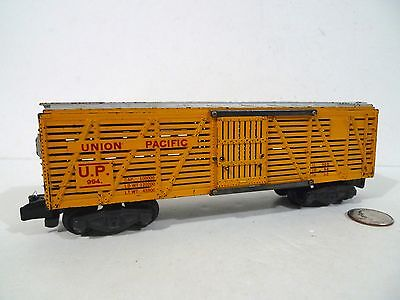 AMERICAN FLYER 994 UNION PACIFIC CATTLE STOCK CAR 1957 YELLOW RARE !!!
