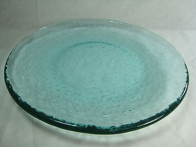 """Crinkle Glass Turquoise Clear Thick 10 7/8"""" Round Serving Plate Textured"""