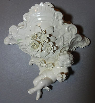 Antique Dresden Style Porcelain Wall Vase Or Wall Pocket Cherub Putti & Flowers