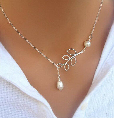 Womens Simple Silver Branch Leaves Pearl Charm Statement Chain Necklace Pendant