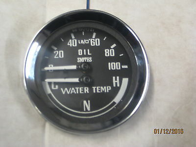 Brand New  Dual Oil Water Gauge Smiths Cnh Cold Normal Hot  Mgb Midget Sprite