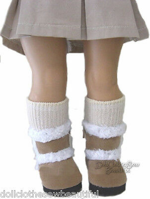 "Tan Fur Trim Boots Made for 18"" American Girl Doll Clothes"