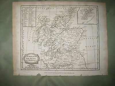 Superb Antique 1806 Scotland Dated Copperplate Map Shetland Isles Shires Detaile