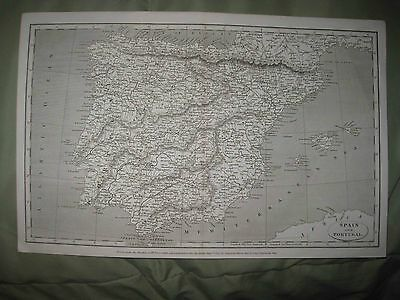 Large Superb Antique 1807 Spain Portugal Arrowsmith Dated Map Very Detailed Nr