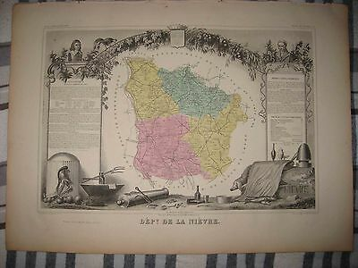 Fine Antique 1861 Department De La Nievre Nevers France Levasseur Handcolor Map