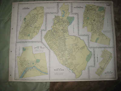 Antique Johnstown Poughkeepsie White Plains Watervliet Little Fall New York Map