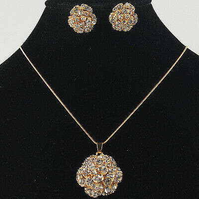 Vogue 14k Yellow Gold Filled Flower Austrian Crystal Necklace Earring Set GP2718