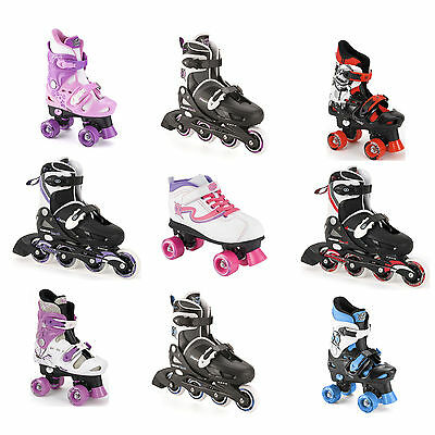 Childrens Size Adjustable Quad Inline Boys Girls Roller Skates & Girls LED Skate