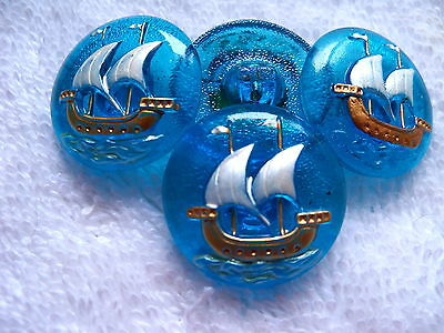 "CZECH GLASS BUTTONS (4 pcs) 7/8""- 22mm COLLECTABLE SHIP   US C 060"